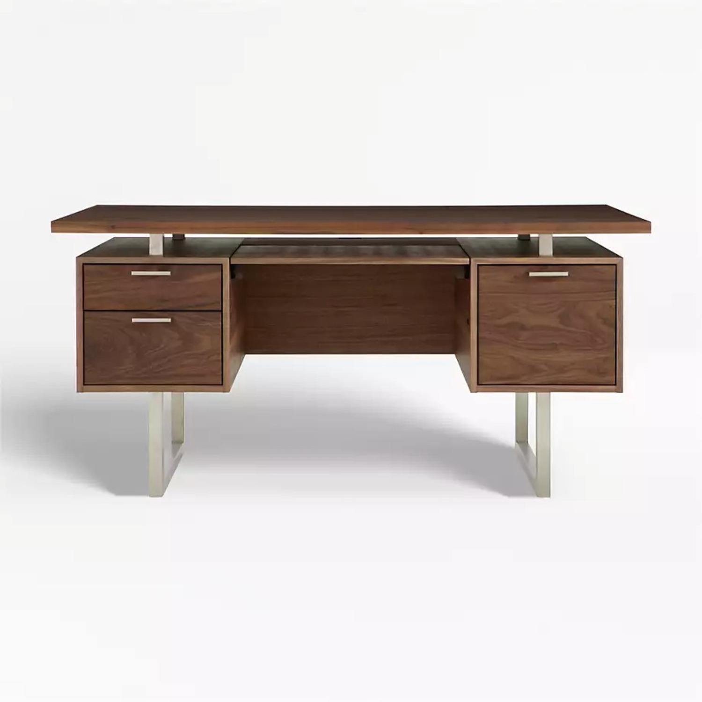 Crate & Barrel Clybourn Walnut Executive Desk - image-1