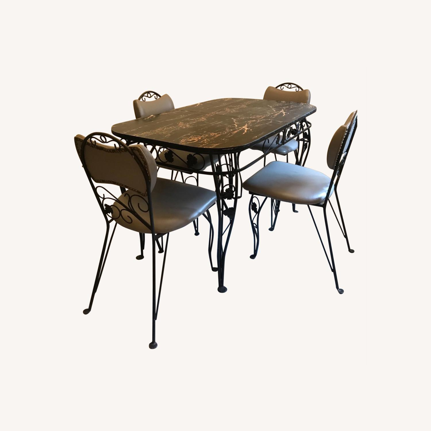 Vintage Wrought Iron / Formica Kitchen Table - image-0