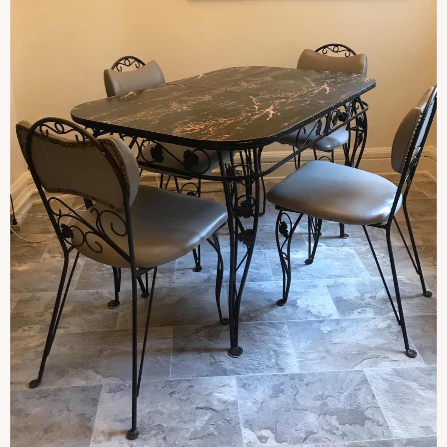 Vintage Wrought Iron / Formica Kitchen Table - image-7