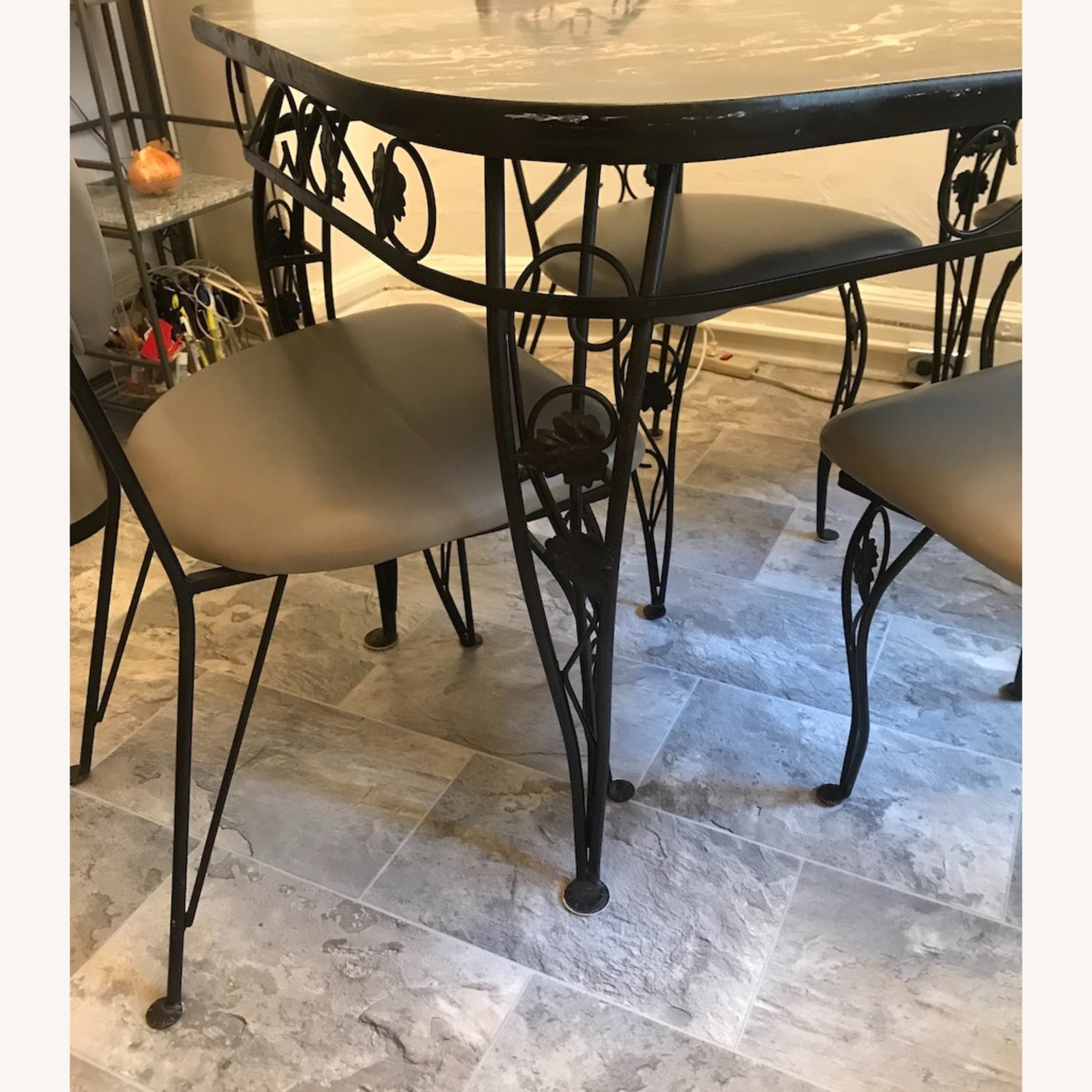 Vintage Wrought Iron / Formica Kitchen Table - image-1