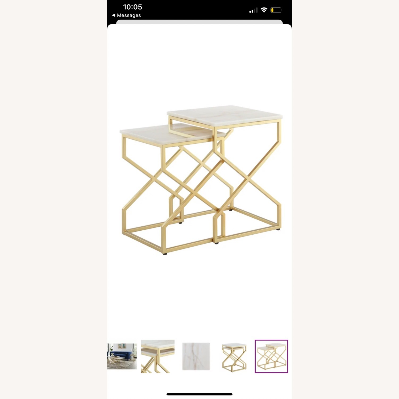 Wayfair Real Italian Marble Nesting Table pair - image-1