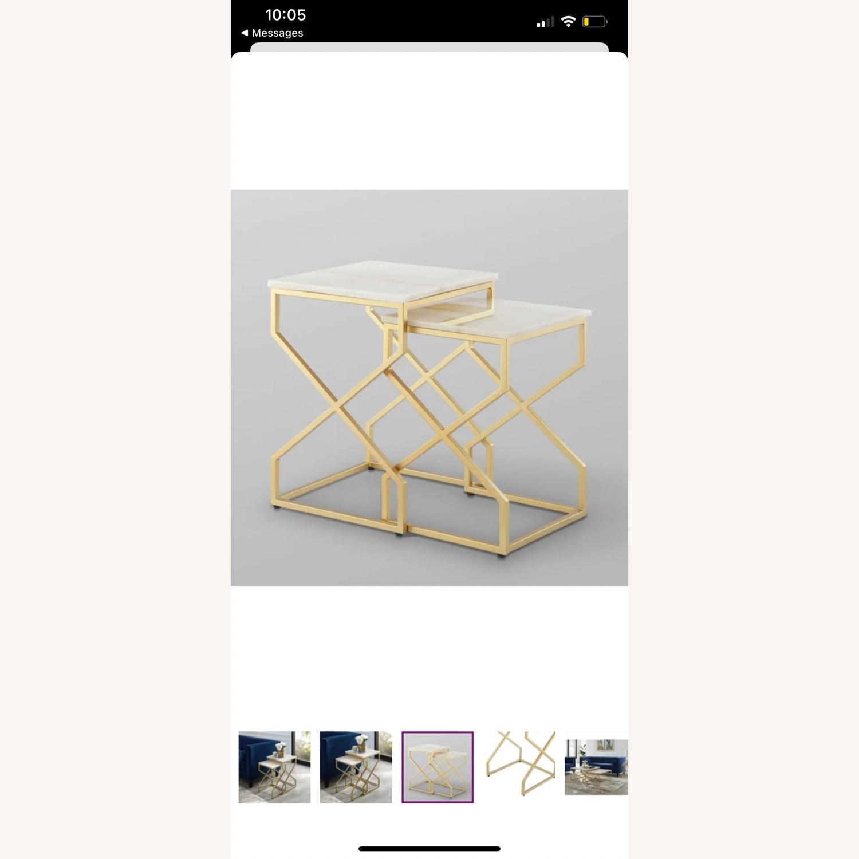 Wayfair Real Italian Marble Nesting Table pair - image-3