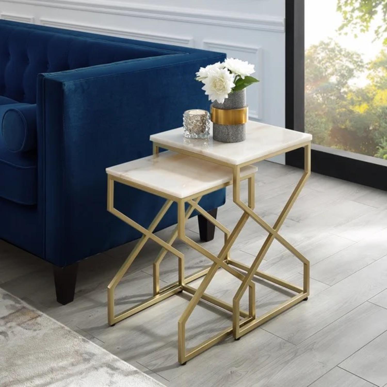 Wayfair Real Italian Marble Nesting Table pair - image-4