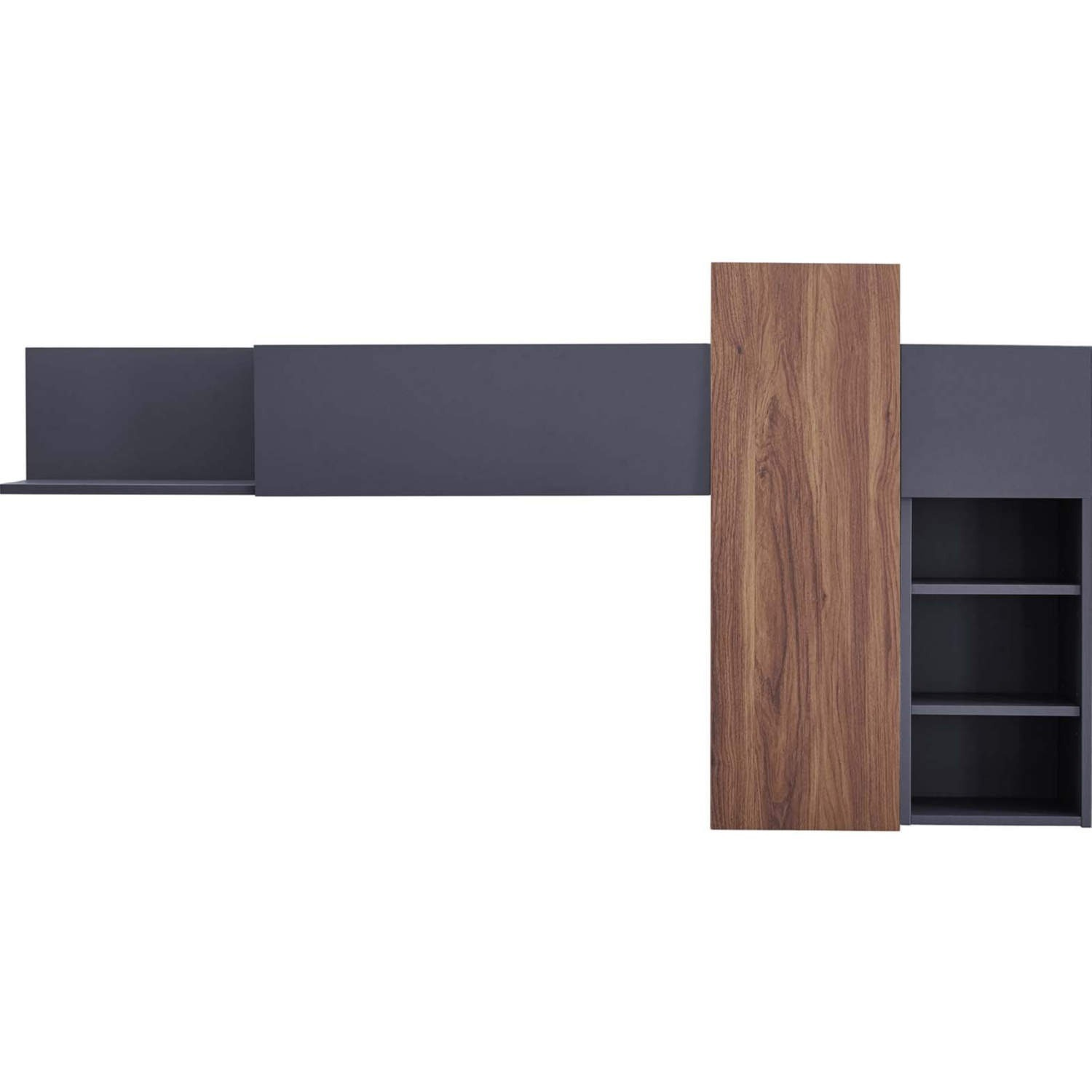 Wall Mounted Shelves In Gray & Walnut Finish - image-1