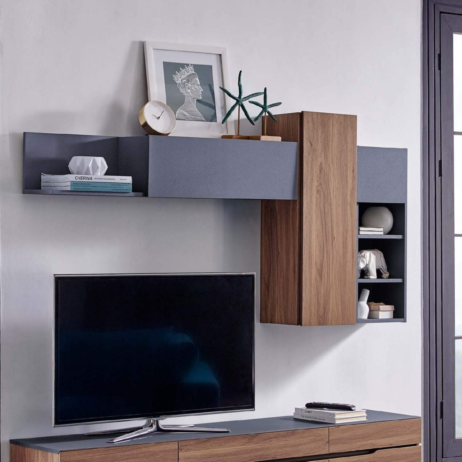 Wall Mounted Shelves In Gray & Walnut Finish - image-2