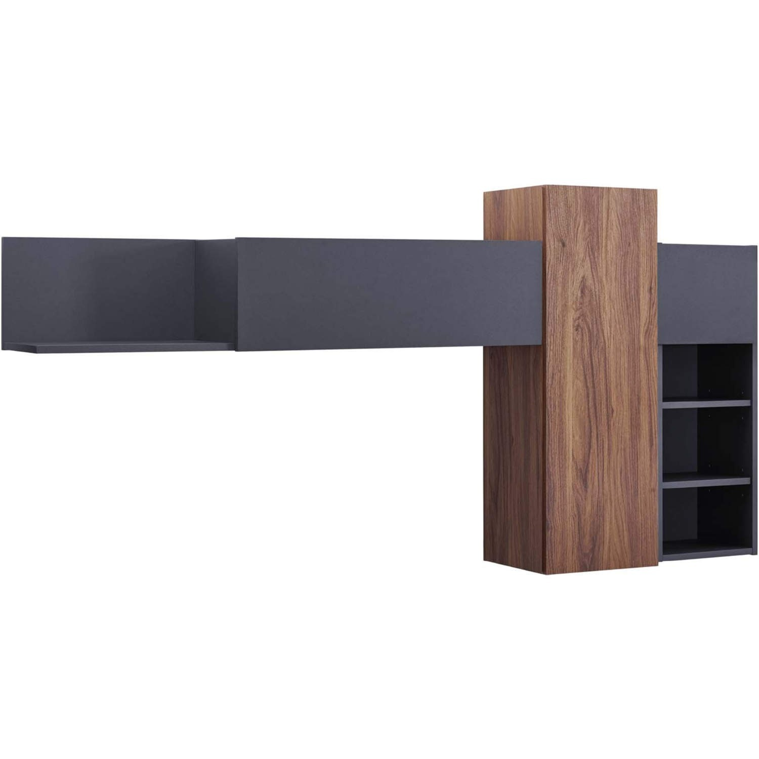 Wall Mounted Shelves In Gray & Walnut Finish - image-0