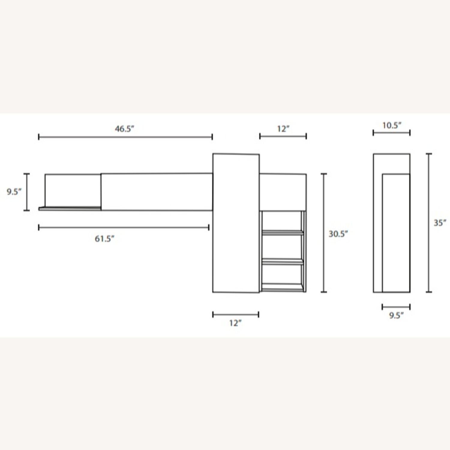 Wall Mounted Shelves In Gray & Walnut Finish - image-3