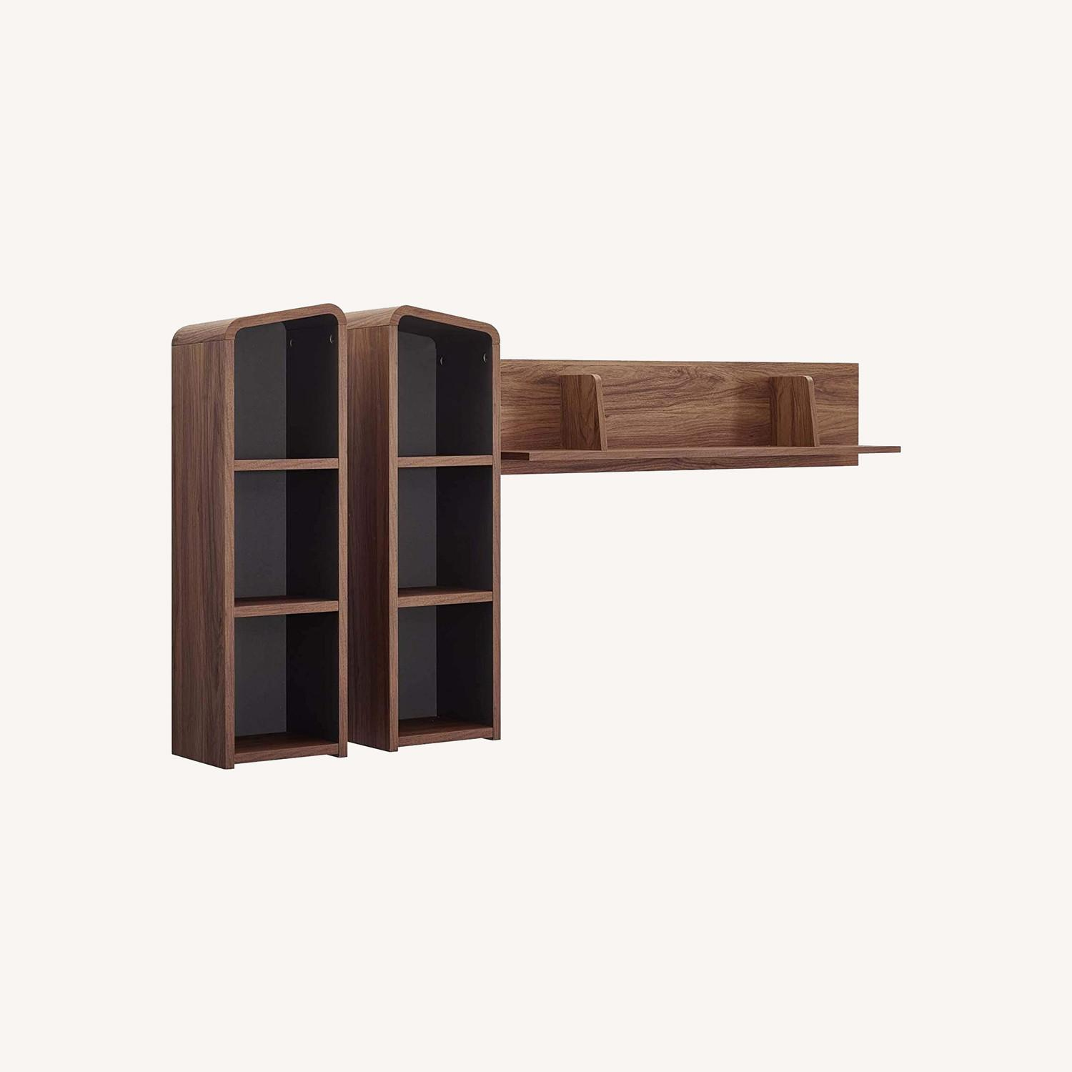 Wall Mounted Shelves In Walnut W/ Rounded Edges - image-4