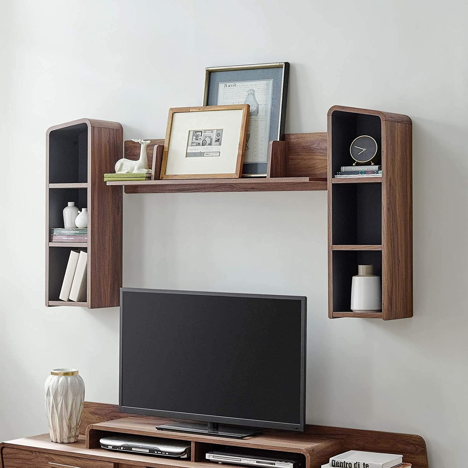 Wall Mounted Shelves In Walnut W/ Rounded Edges - image-2