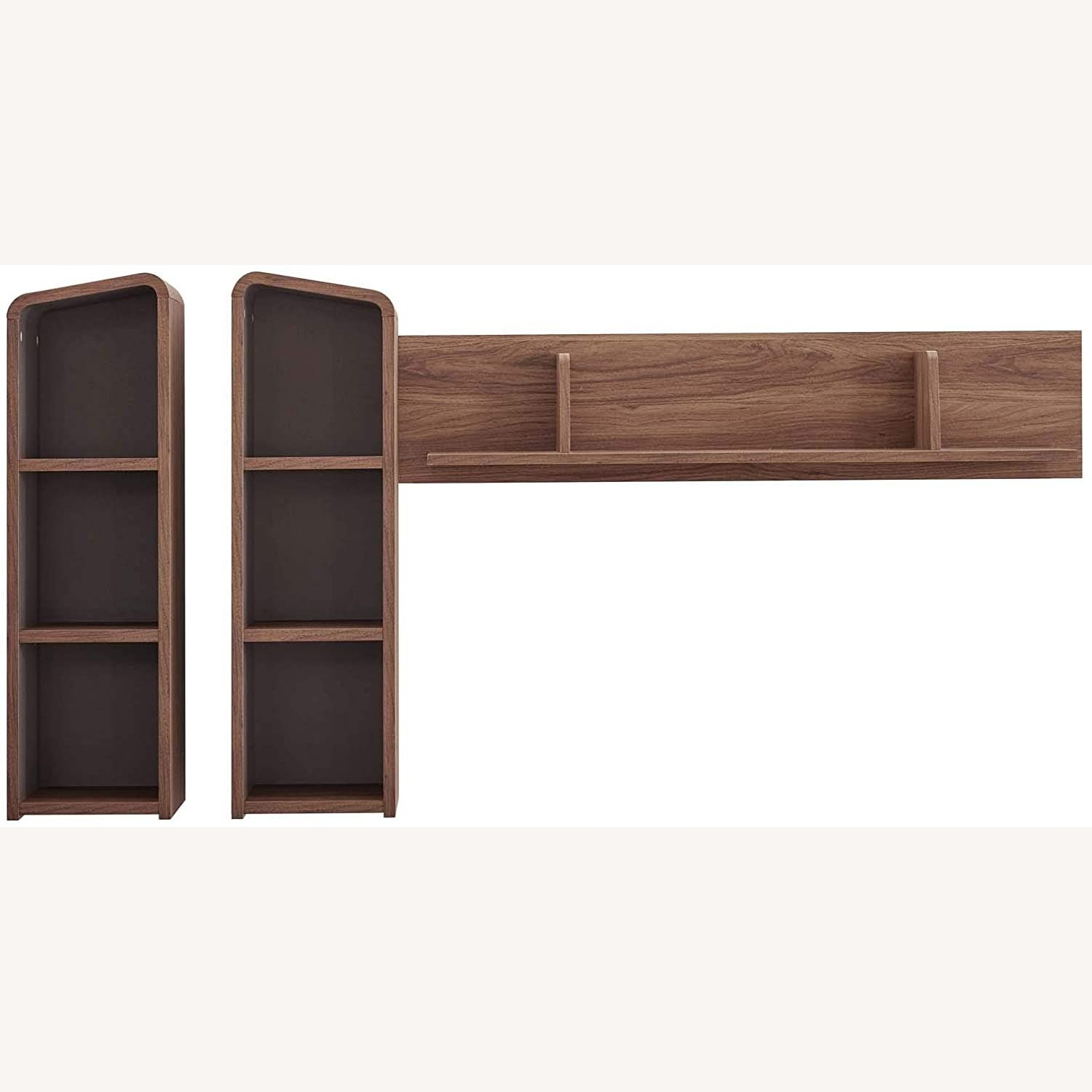 Wall Mounted Shelves In Walnut W/ Rounded Edges - image-1