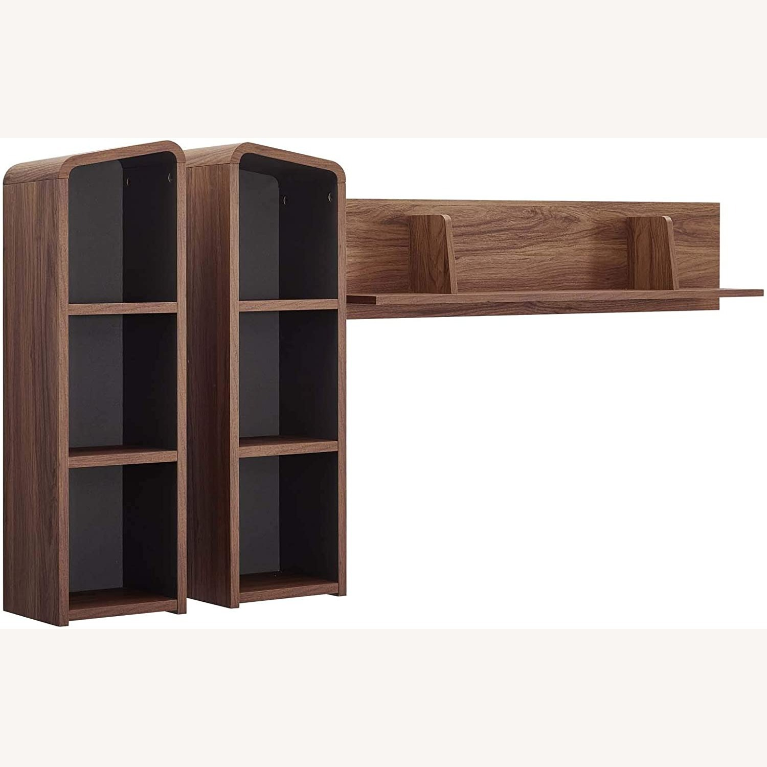 Wall Mounted Shelves In Walnut W/ Rounded Edges - image-0
