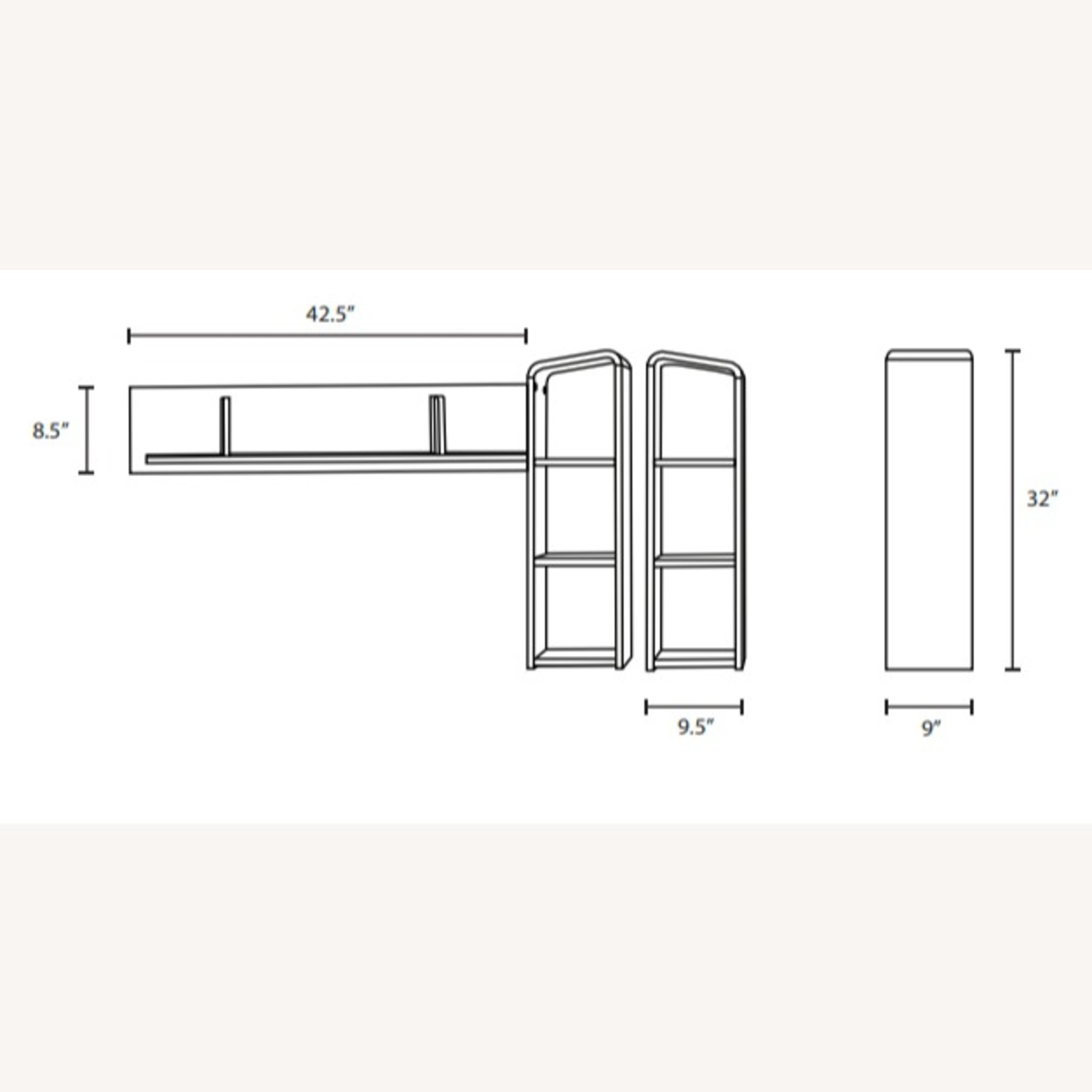 Wall Mounted Shelves In Walnut W/ Rounded Edges - image-3