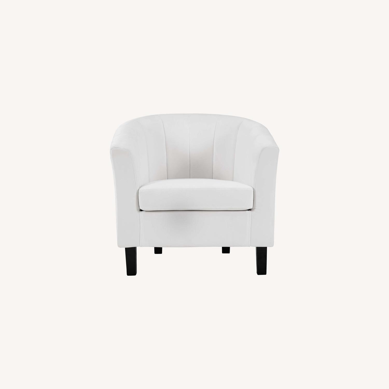 Armchair In White Velvet Finish W/ Channel Tufting - image-5