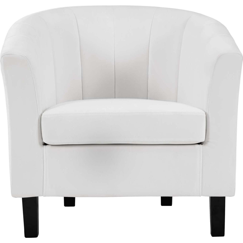 Armchair In White Velvet Finish W/ Channel Tufting - image-0