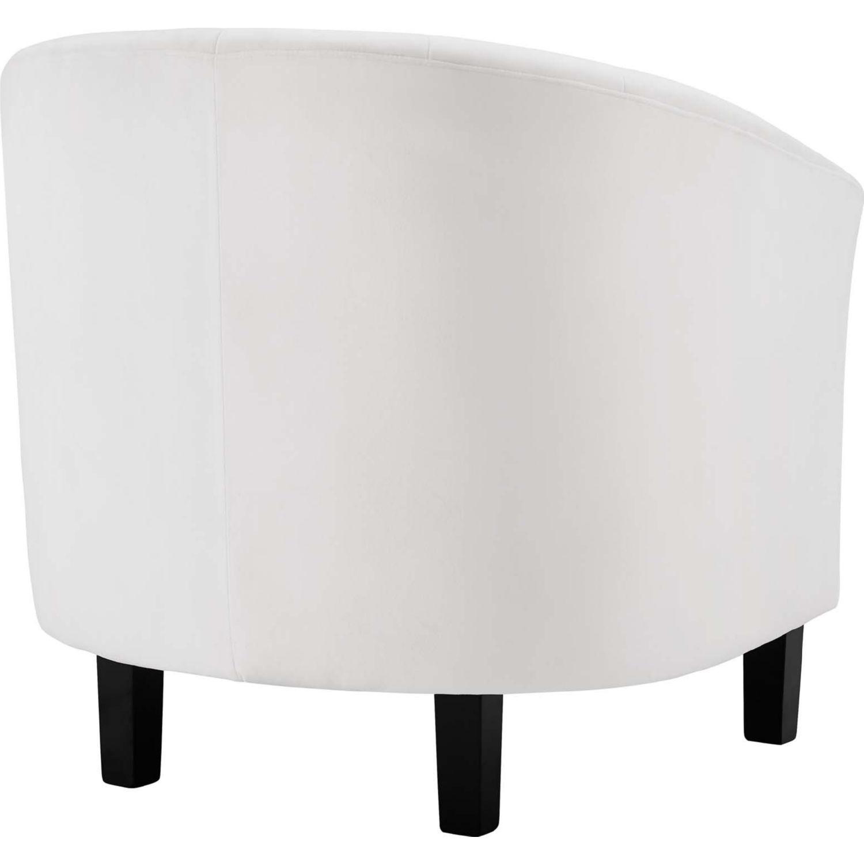 Armchair In White Velvet Finish W/ Channel Tufting - image-2