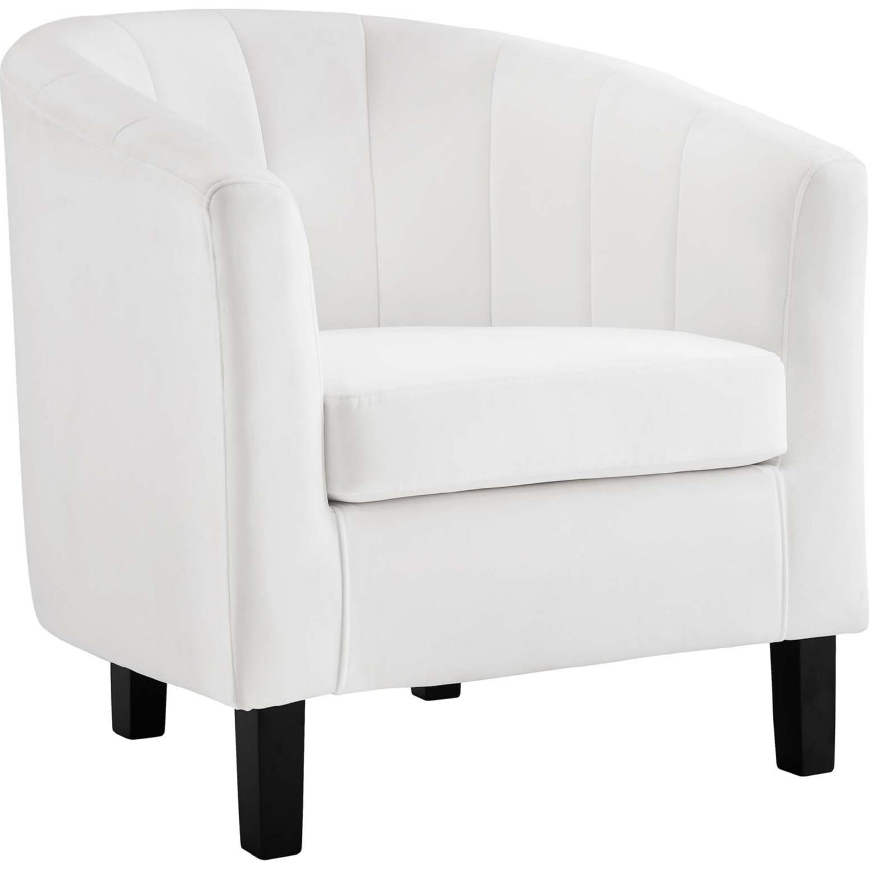 Armchair In White Velvet Finish W/ Channel Tufting - image-1