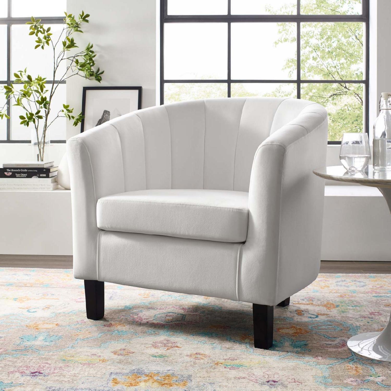 Armchair In White Velvet Finish W/ Channel Tufting - image-3