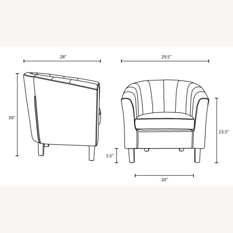Armchair In White Velvet Finish W/ Channel Tufting - image-4