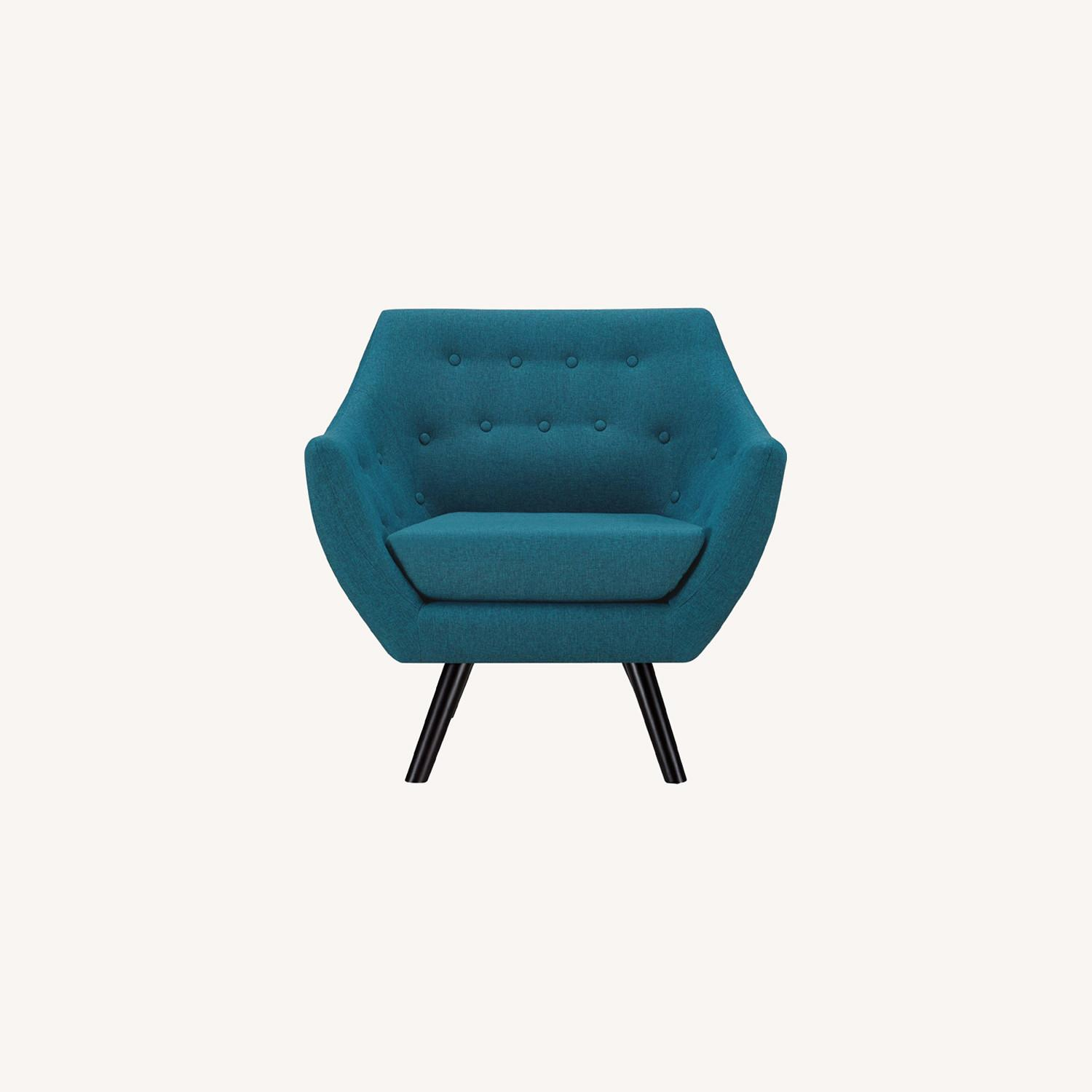 Armchair In Teal Fabric W/ Tufted Buttons - image-6