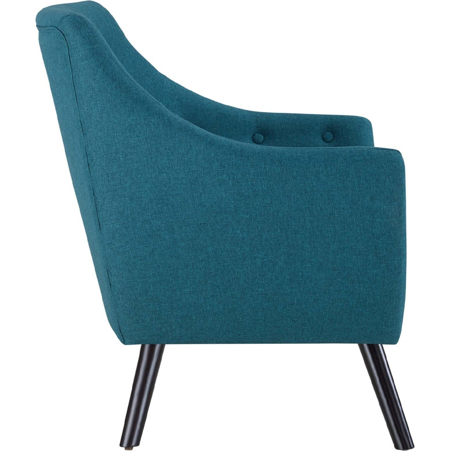 Armchair In Teal Fabric W/ Tufted Buttons - image-2