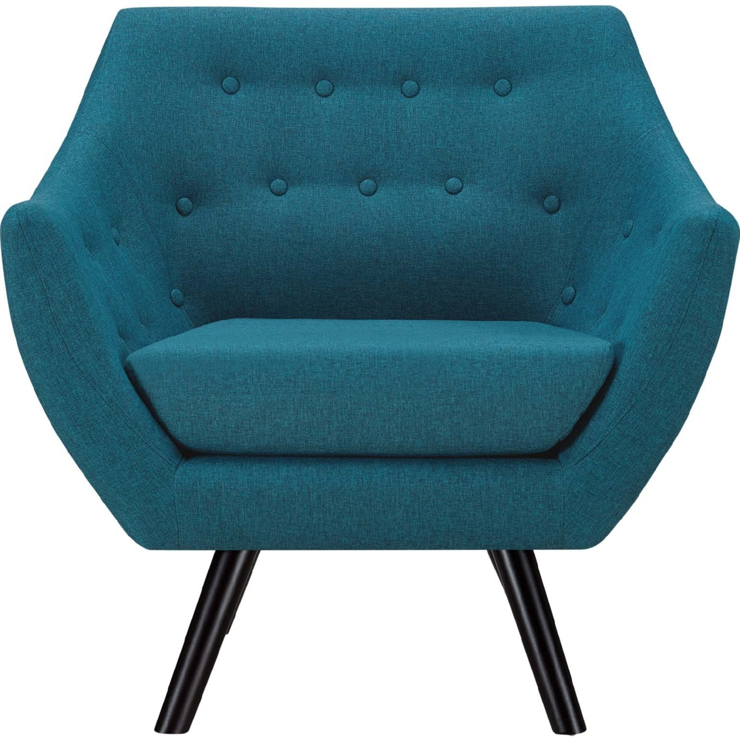 Armchair In Teal Fabric W/ Tufted Buttons - image-0