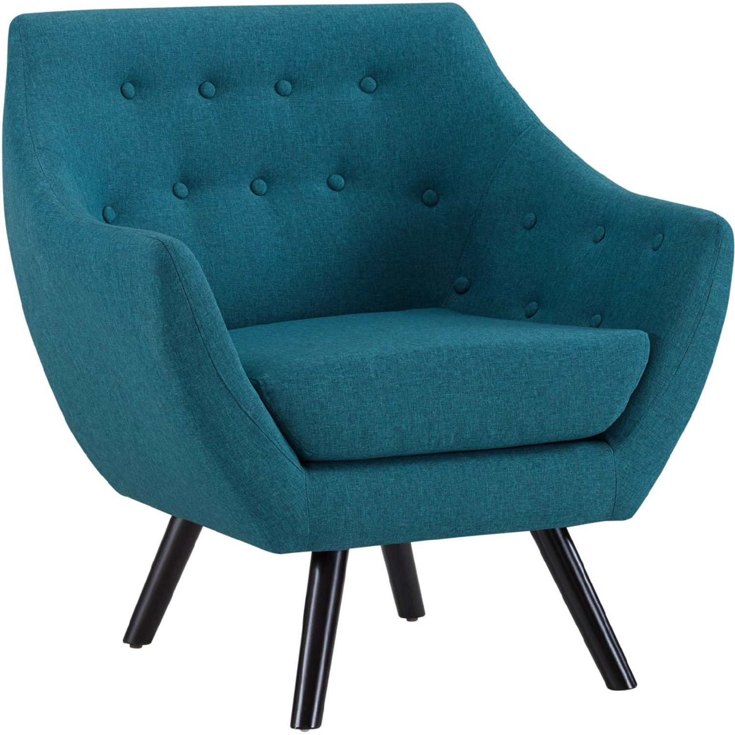 Armchair In Teal Fabric W/ Tufted Buttons - image-1