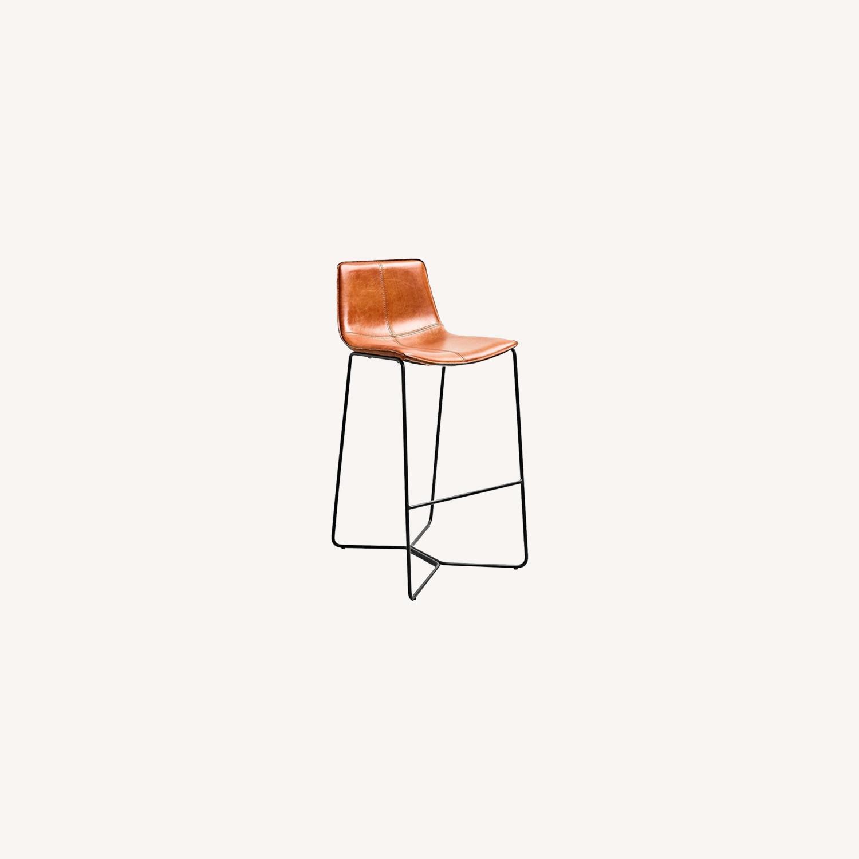 Leather Seat Metal Leg Bar Stool - image-0