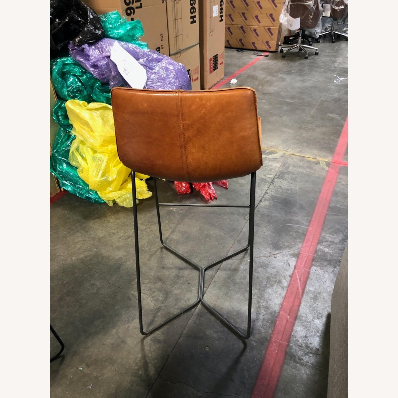 Leather Seat Metal Leg Bar Stool - image-1