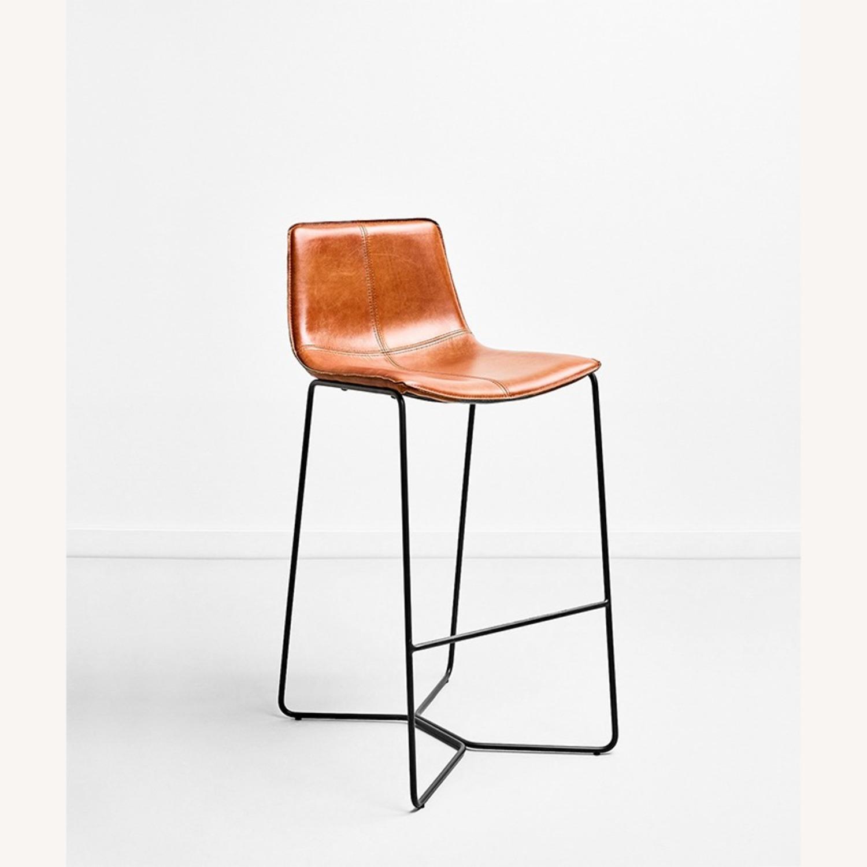 Leather Seat Metal Leg Bar Stool - image-2