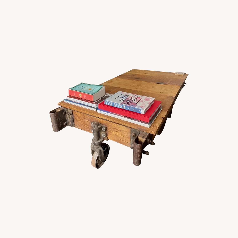 Vintage Industrial Railroad Cart Coffee Table - image-0