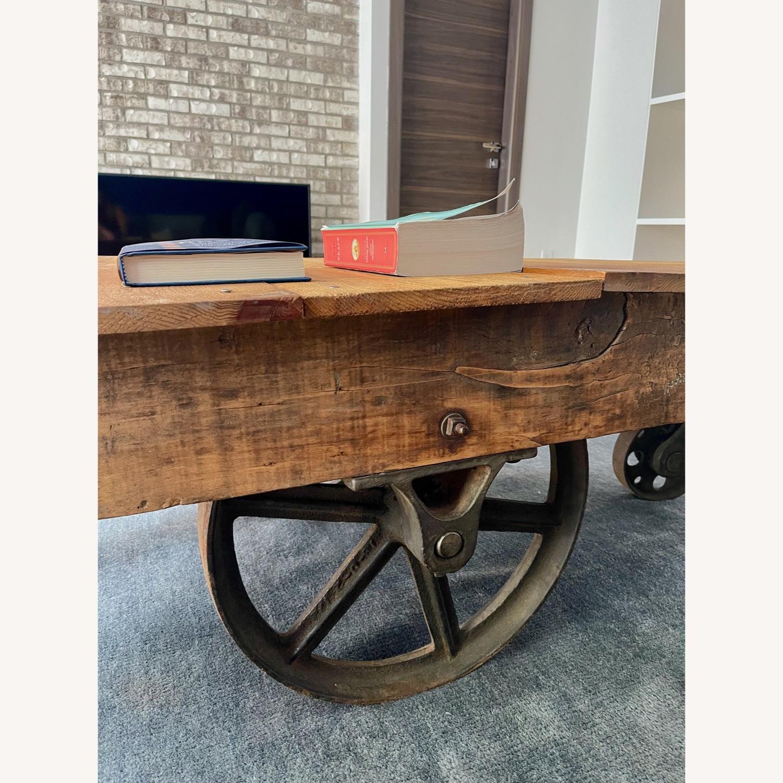 Vintage Industrial Railroad Cart Coffee Table - image-3