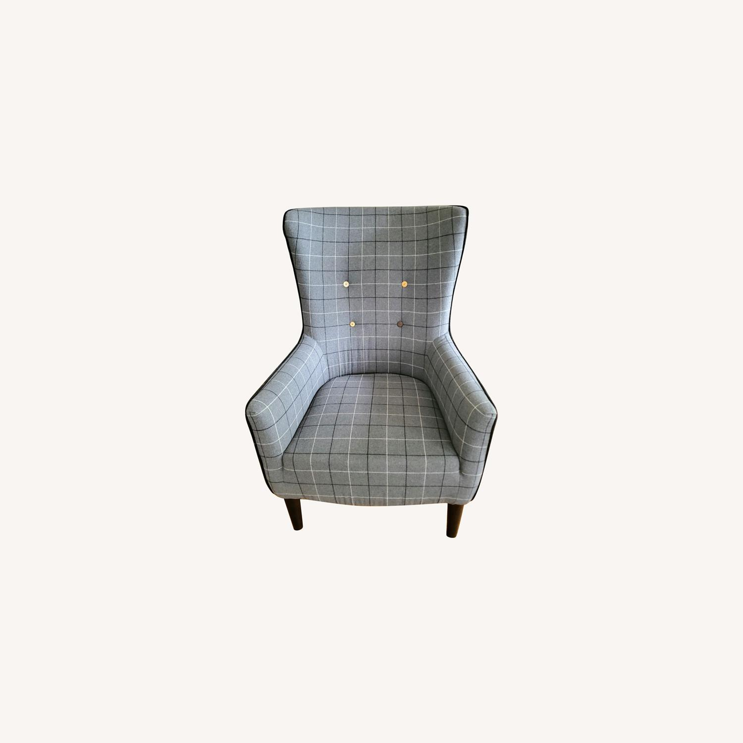 West Elm Victor Wingback Chair in Grey Plaid - image-0