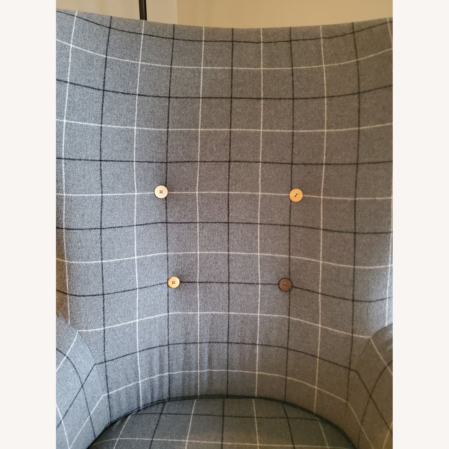 West Elm Victor Wingback Chair in Grey Plaid - image-9