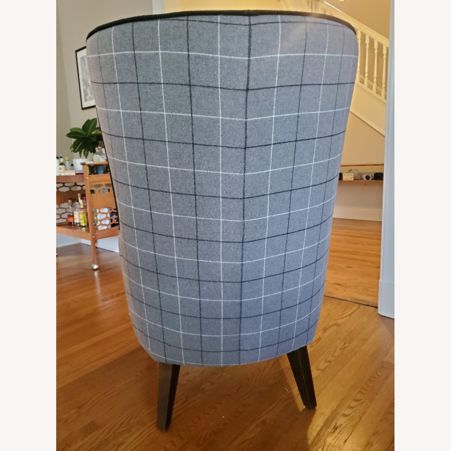 West Elm Victor Wingback Chair in Grey Plaid - image-5