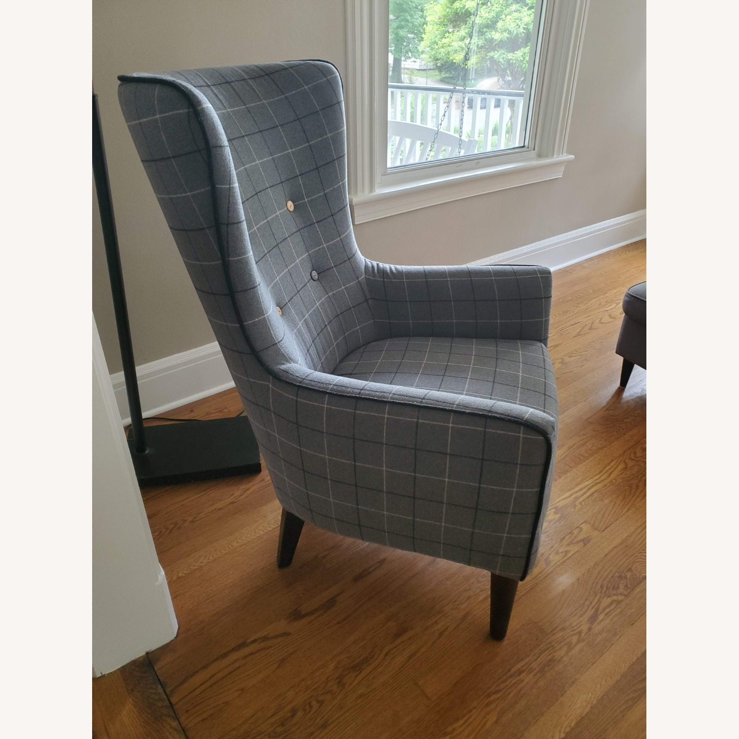 West Elm Victor Wingback Chair in Grey Plaid - image-3