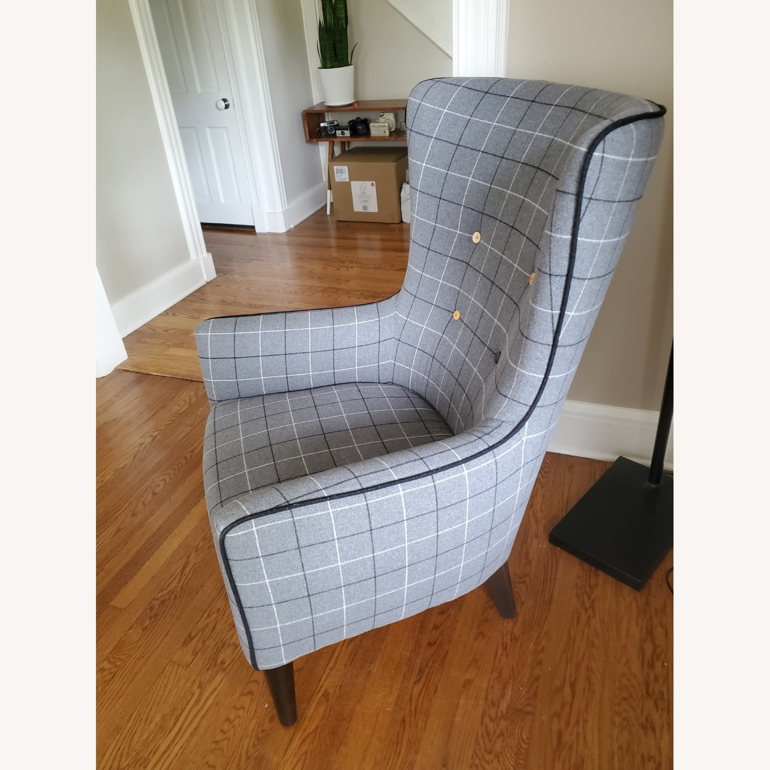 West Elm Victor Wingback Chair in Grey Plaid - image-2
