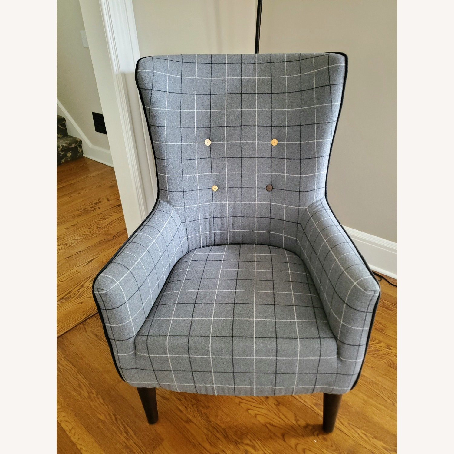West Elm Victor Wingback Chair in Grey Plaid - image-1