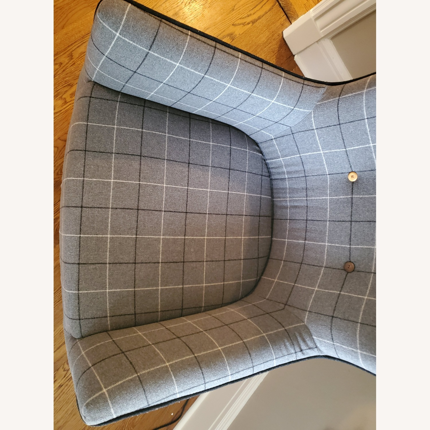 West Elm Victor Wingback Chair in Grey Plaid - image-10