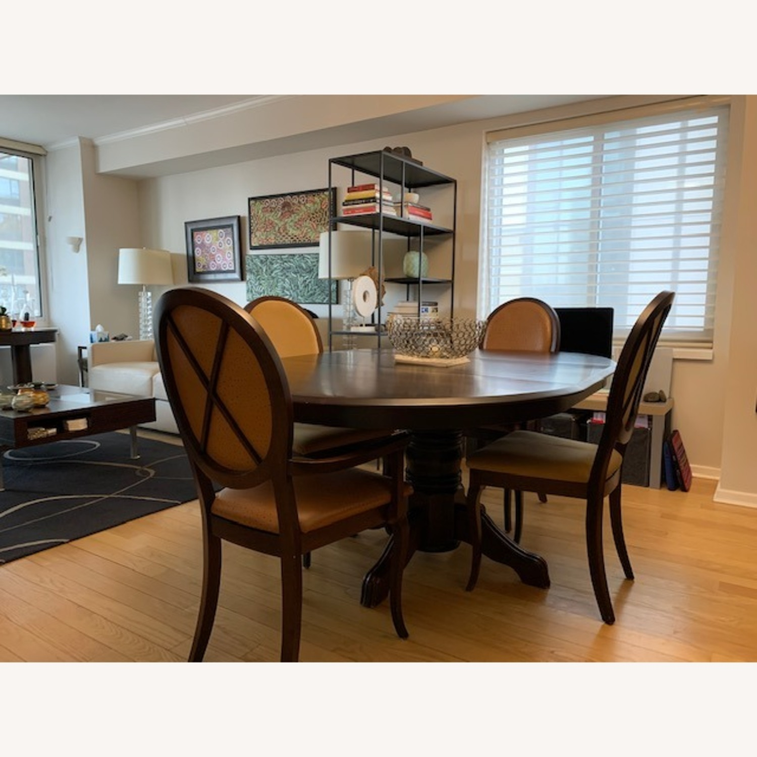 Expandable Dining Room Table w/ Six Chairs - image-1