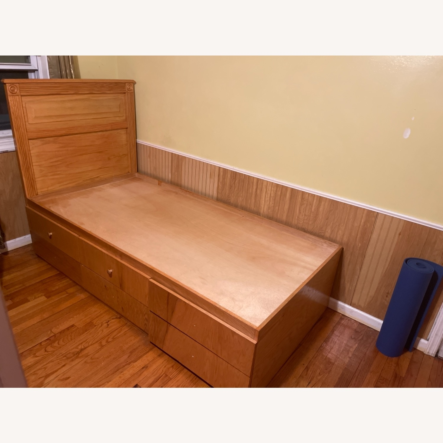 Natural Wood Colour Twin Bed Built-In Storage - image-1