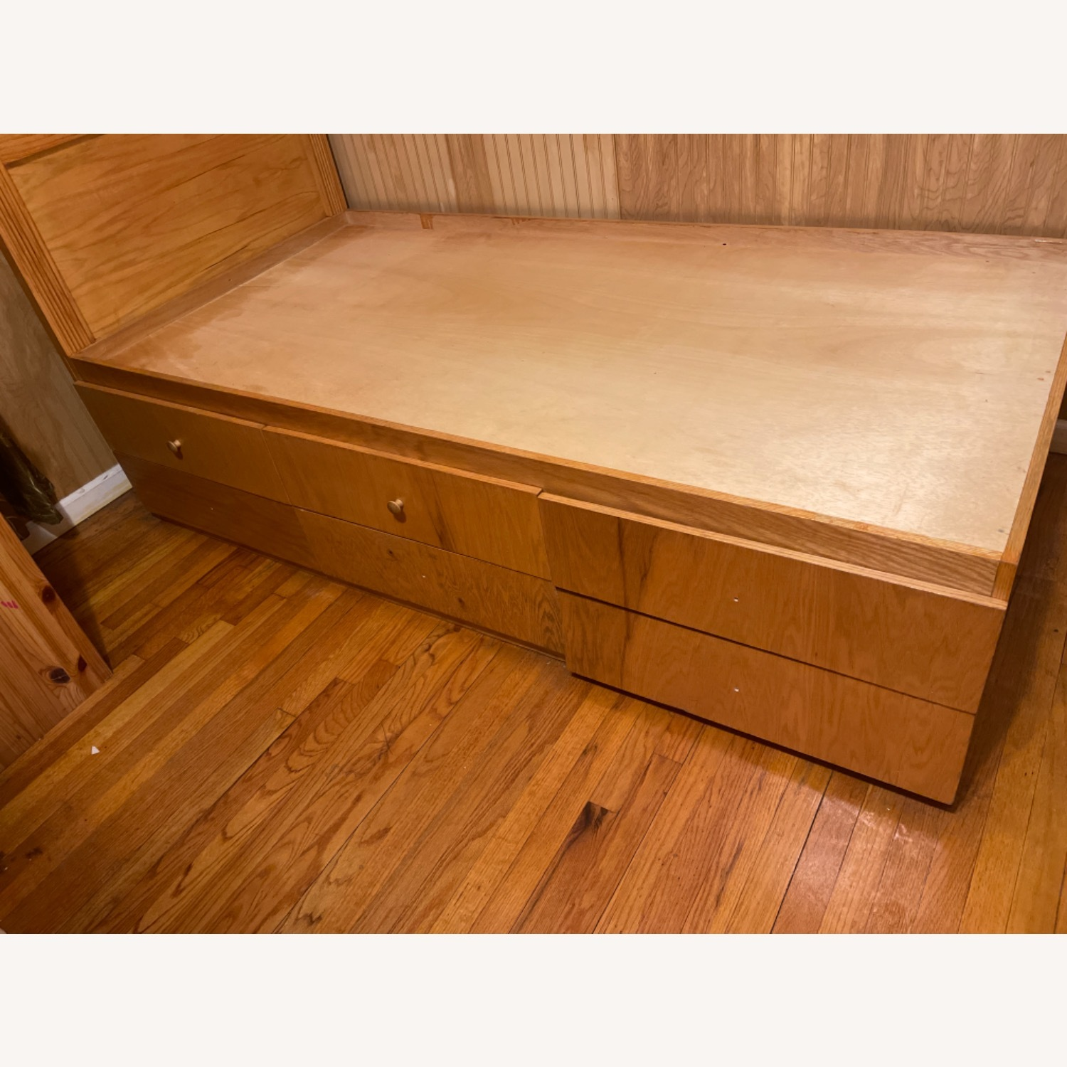 Natural Wood Colour Twin Bed Built-In Storage - image-3