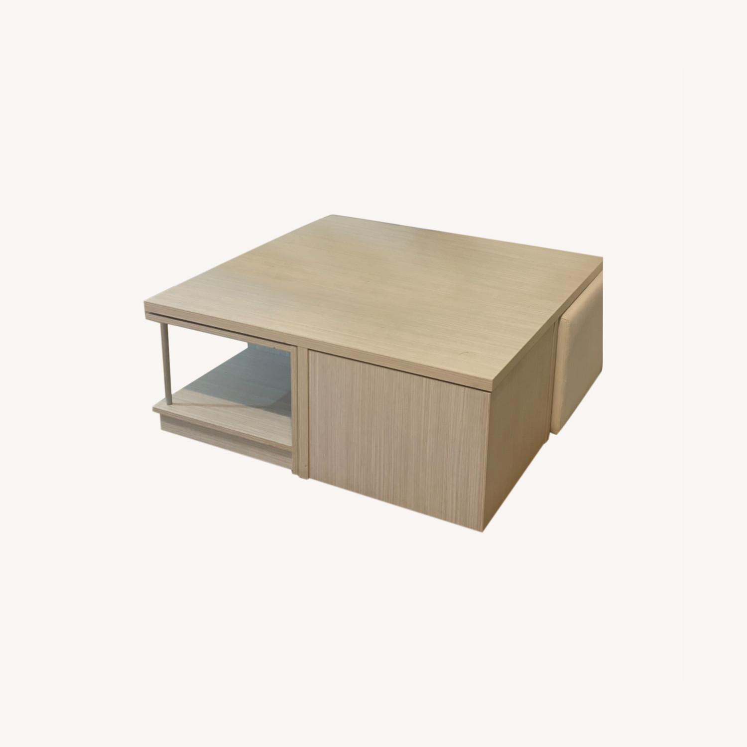Modani Wooden Coffee Table with Ottoman Stools - image-0