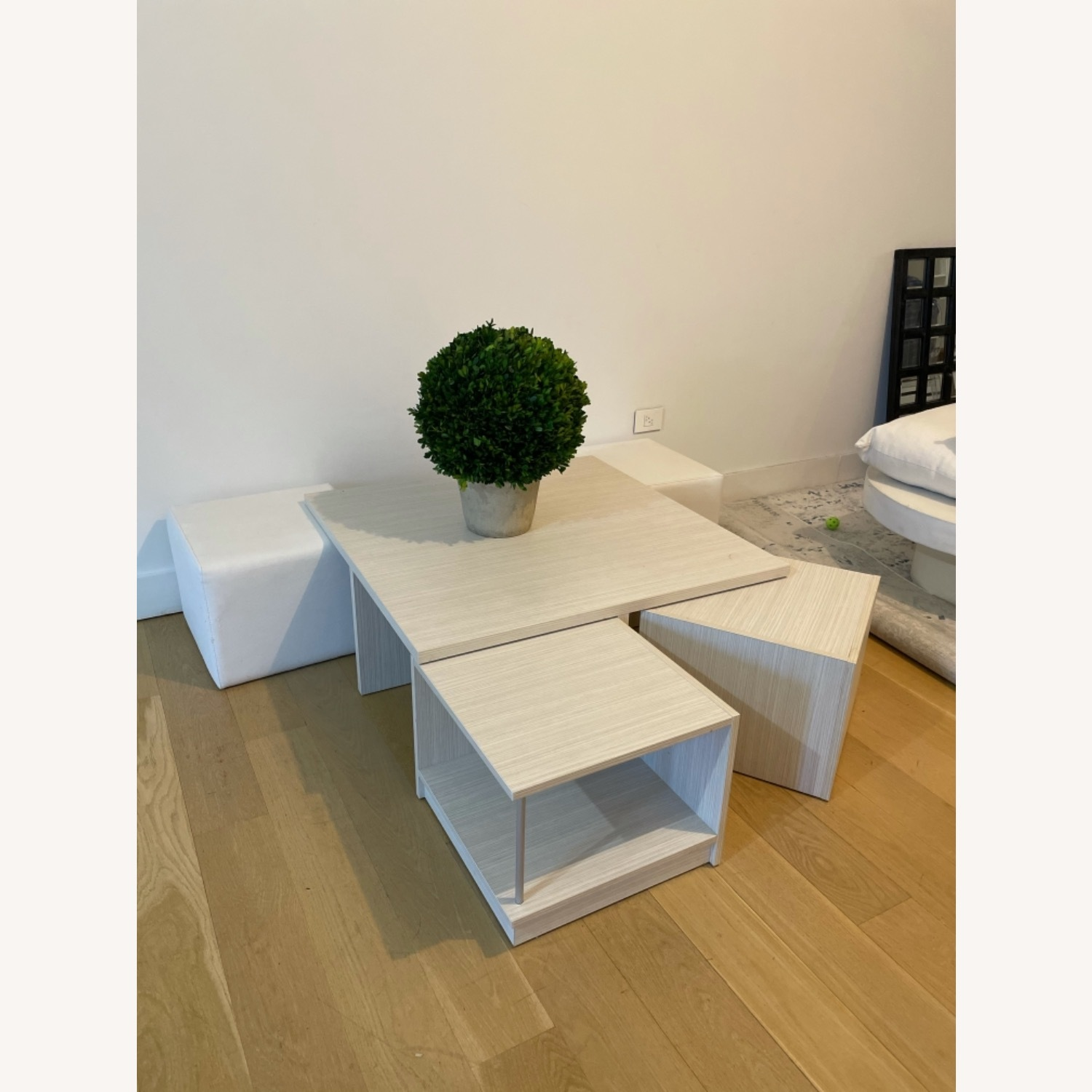 Modani Wooden Coffee Table with Ottoman Stools - image-7
