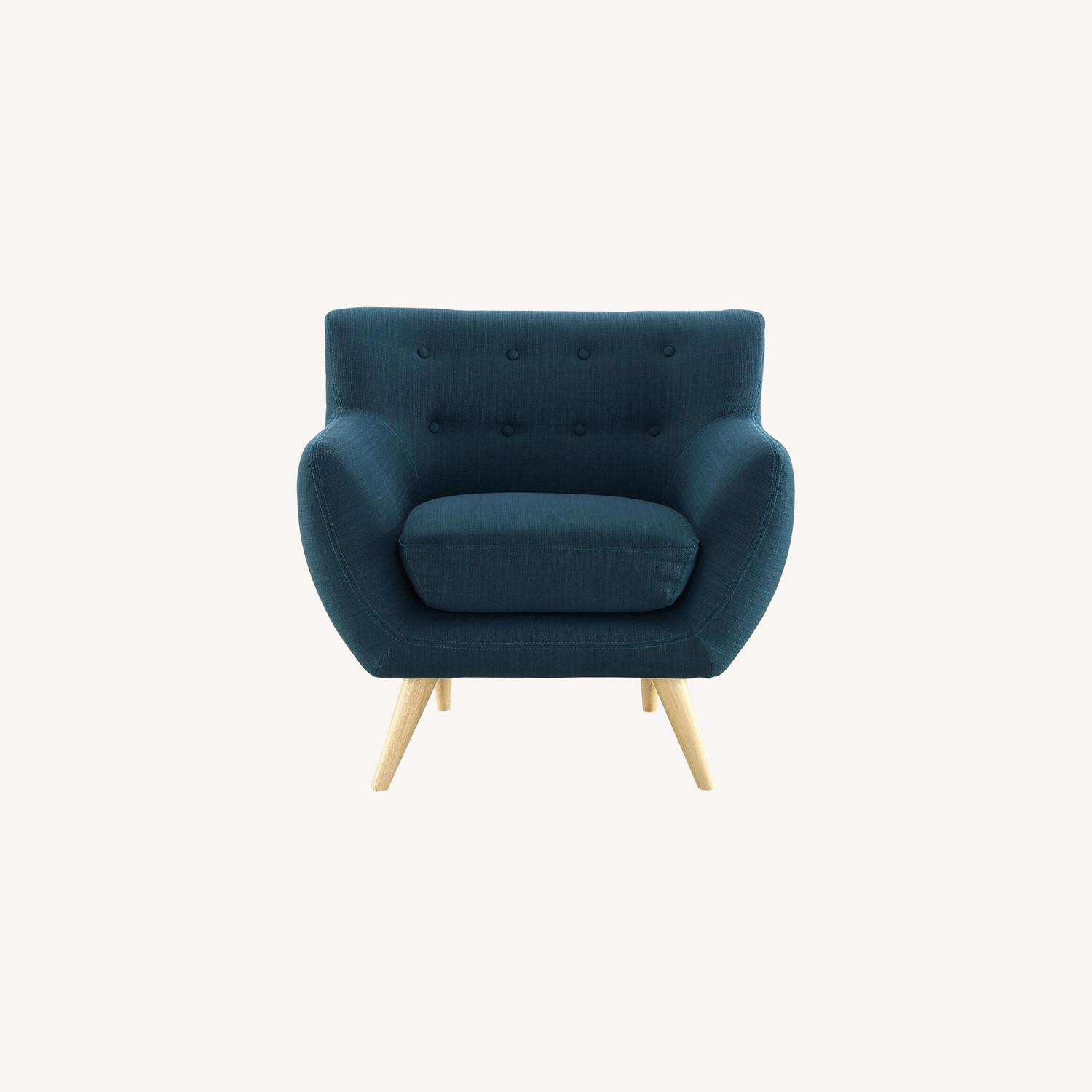 Armchair In Azure Upholstery W/ Natural Wood Legs - image-6
