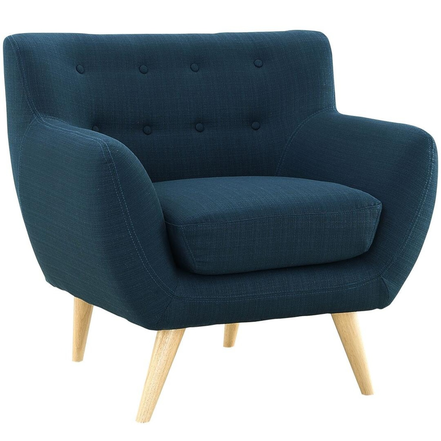 Armchair In Azure Upholstery W/ Natural Wood Legs - image-1