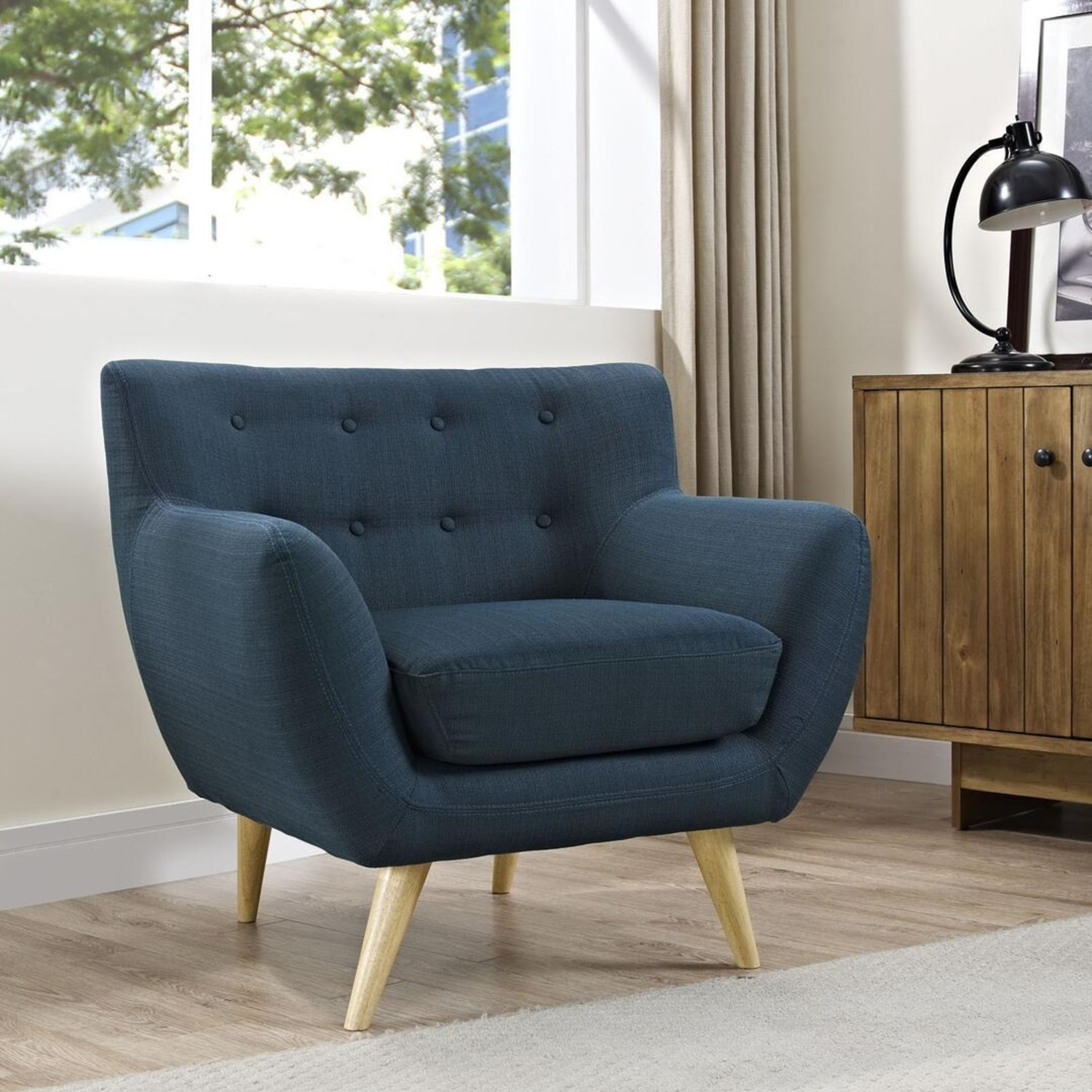 Armchair In Azure Upholstery W/ Natural Wood Legs - image-4