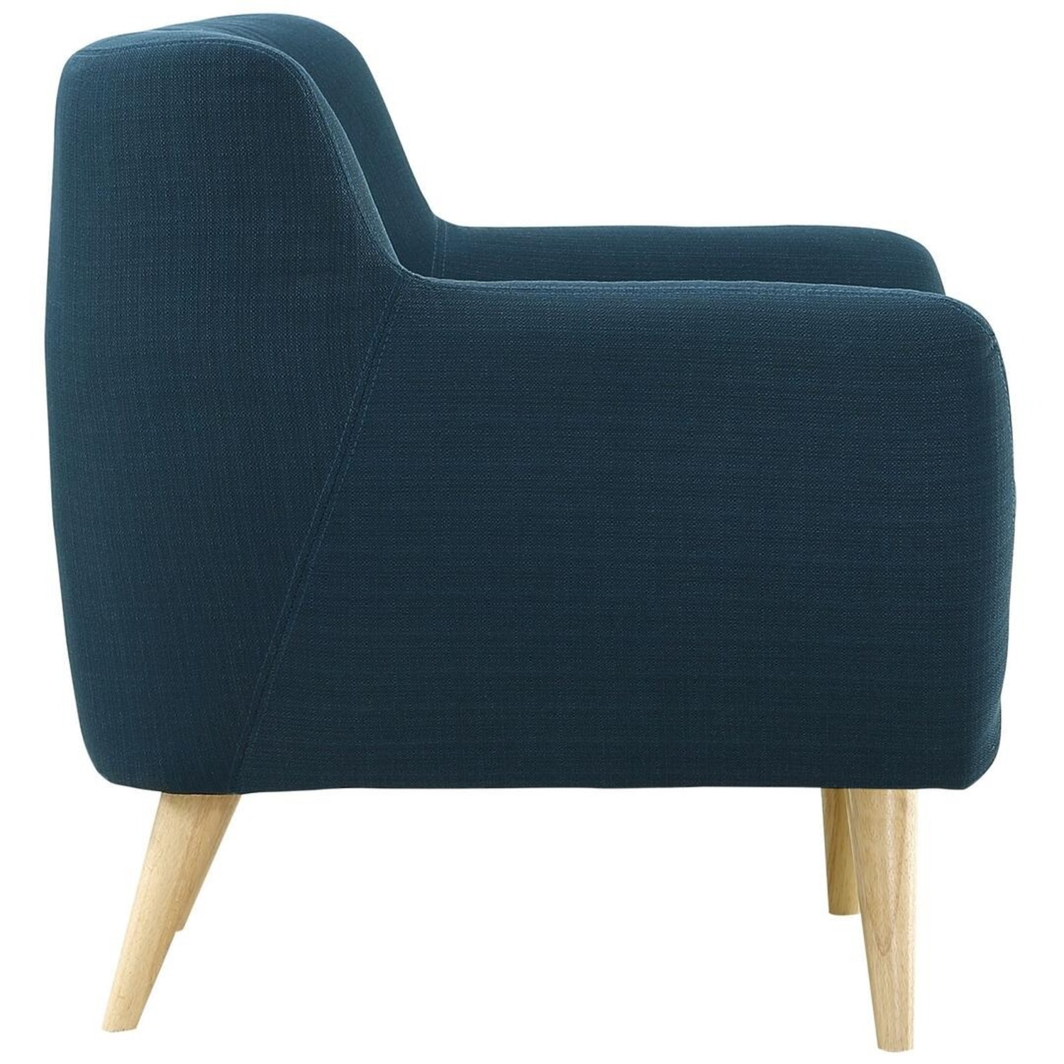 Armchair In Azure Upholstery W/ Natural Wood Legs - image-2