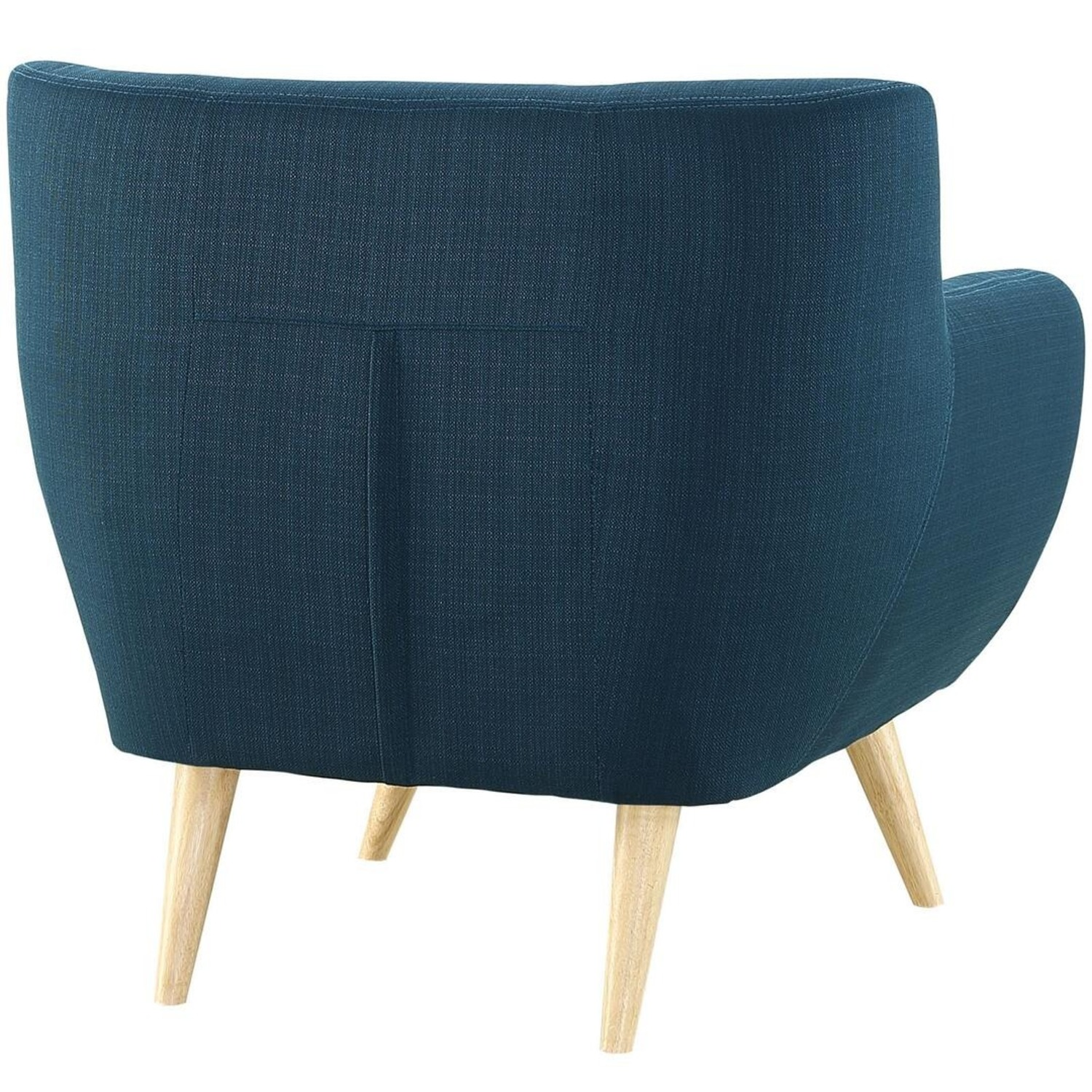 Armchair In Azure Upholstery W/ Natural Wood Legs - image-3