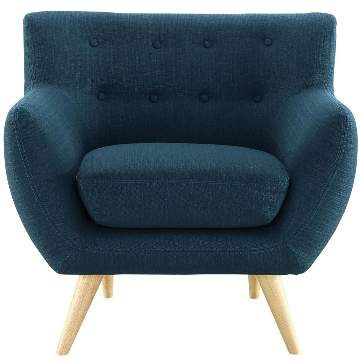 Armchair In Azure Upholstery W/ Natural Wood Legs - image-0