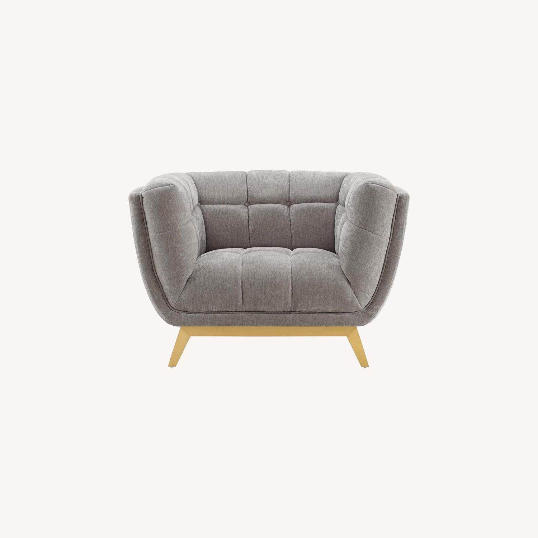Armchair In Velvet Light Gray & Gold Frame Finish - image-8